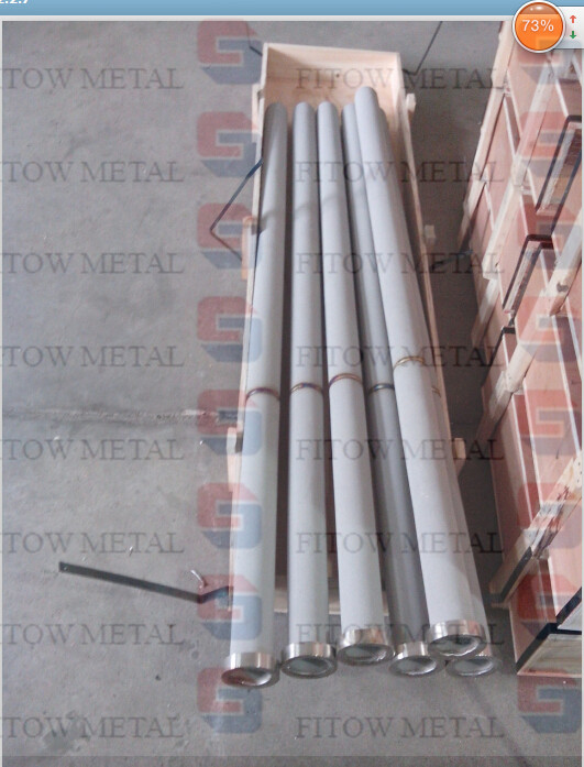 Stainless steel powder sintering filter Ф 65 x 1​500 with End cover two buttom welding